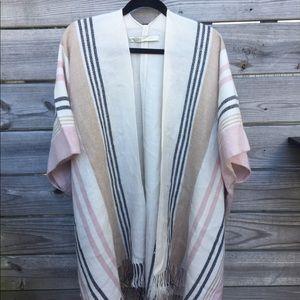 LOFT Striped Fringe Kimono